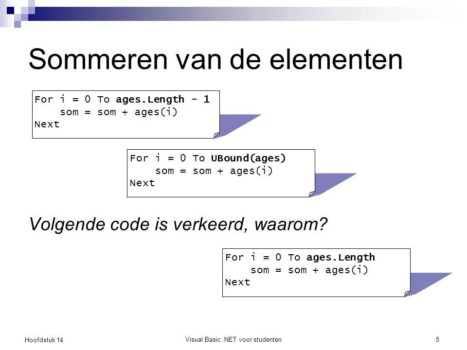 Hoofdstuk 14 Visual Basic.NET voor studenten6 De lengte van een array Lengte van een array is vast  Property Length Maximum aantal elementen in de array  Functie UBound(array) Hoogst mogelijke geldige index ReDim  Een nieuw array object toekennen aan de variabele, de vorige inhoud gaat verloren ReDim Preserve  Een nieuw array object toekennen aan de variabele en de elementen van de vorige array kopiëren ReDim (Preserve) liever niet gebruiken, beter is gebruik te maken van List, een meegroeiende array