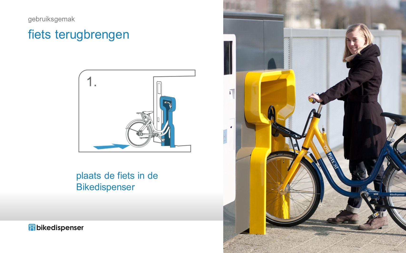 plaats de fiets in de Bikedispenser fiets terugbrengen gebruiksgemak
