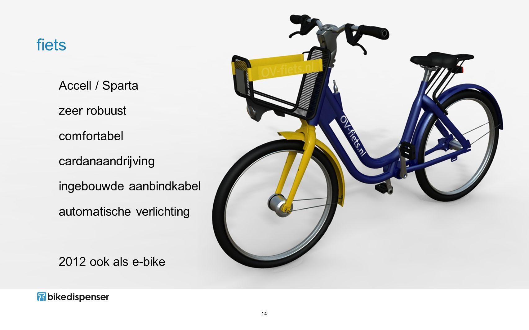 14 fiets Accell / Sparta zeer robuust comfortabel cardanaandrijving ingebouwde aanbindkabel automatische verlichting 2012 ook als e-bike