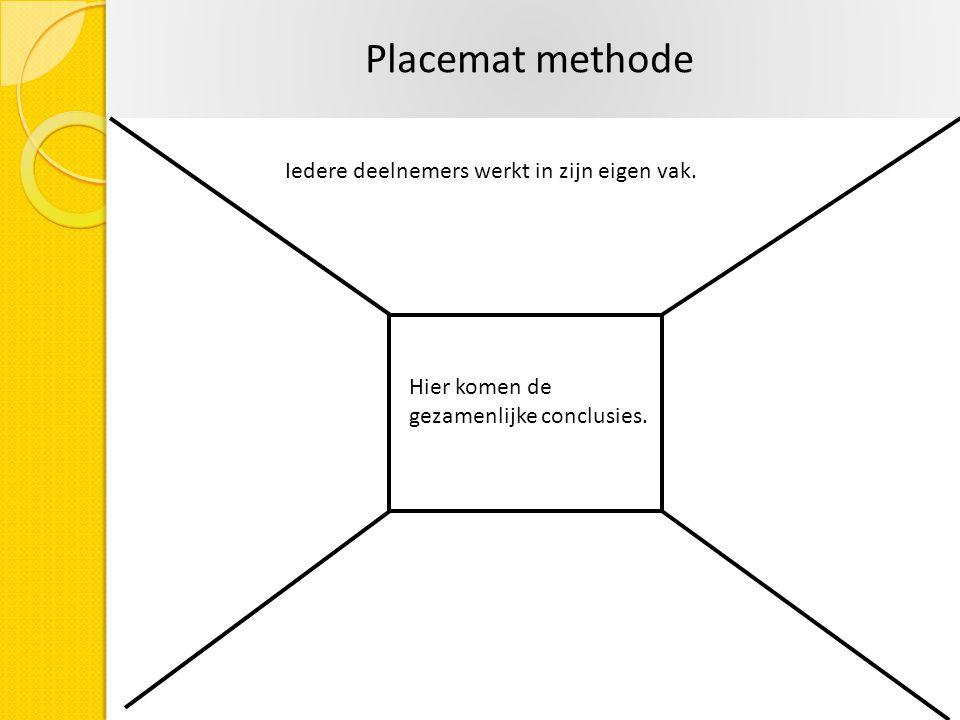 Iedere deelnemers werkt in zijn eigen vak. Hier komen de gezamenlijke conclusies. Placemat methode