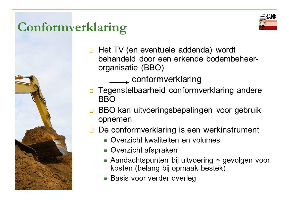 Conformverklaring  Het TV (en eventuele addenda) wordt behandeld door een erkende bodembeheer- organisatie (BBO) conformverklaring  Tegenstelbaarhei