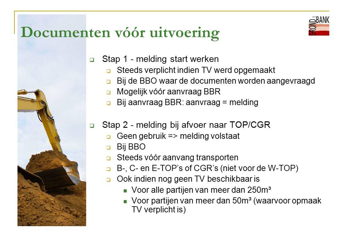Documenten vóór uitvoering  Stap 1 - melding start werken  Steeds verplicht indien TV werd opgemaakt  Bij de BBO waar de documenten worden aangevra