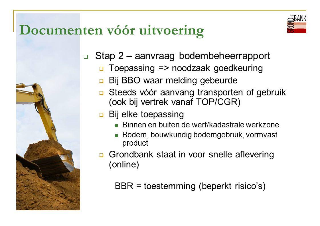 Documenten vóór uitvoering  Stap 2 – aanvraag bodembeheerrapport  Toepassing => noodzaak goedkeuring  Bij BBO waar melding gebeurde  Steeds vóór a