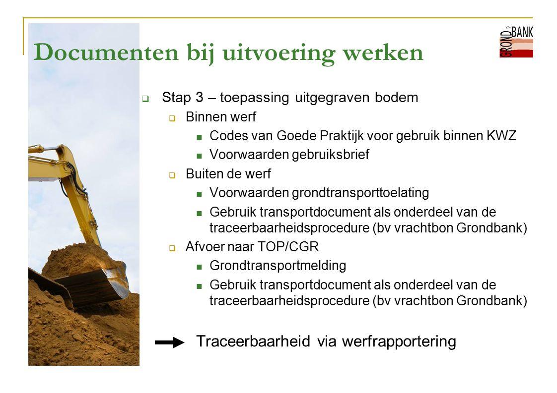 Documenten bij uitvoering werken  Stap 3 – toepassing uitgegraven bodem  Binnen werf Codes van Goede Praktijk voor gebruik binnen KWZ Voorwaarden ge