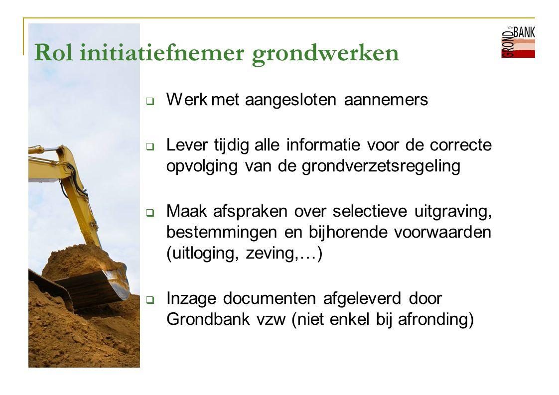 Rol initiatiefnemer grondwerken  Werk met aangesloten aannemers  Lever tijdig alle informatie voor de correcte opvolging van de grondverzetsregeling
