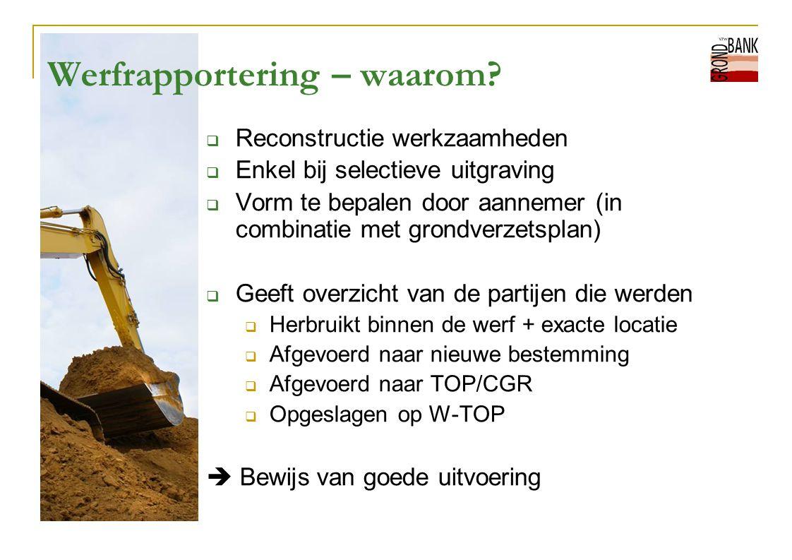 Werfrapportering – waarom?  Reconstructie werkzaamheden  Enkel bij selectieve uitgraving  Vorm te bepalen door aannemer (in combinatie met grondver
