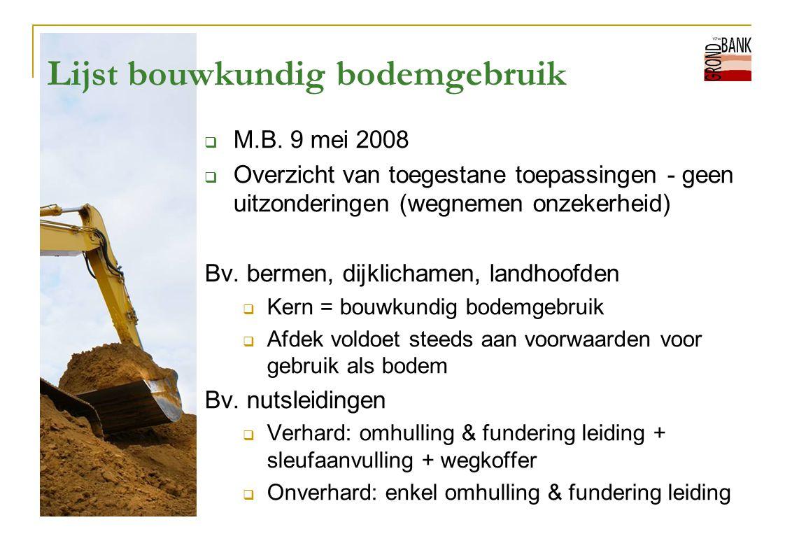 Lijst bouwkundig bodemgebruik  M.B. 9 mei 2008  Overzicht van toegestane toepassingen - geen uitzonderingen (wegnemen onzekerheid) Bv. bermen, dijkl