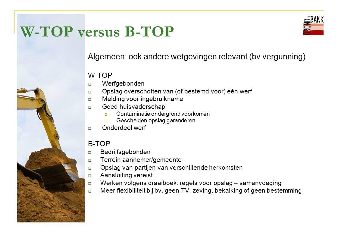 W-TOP versus B-TOP Algemeen: ook andere wetgevingen relevant (bv vergunning) W-TOP  Werfgebonden  Opslag overschotten van (of bestemd voor) één werf