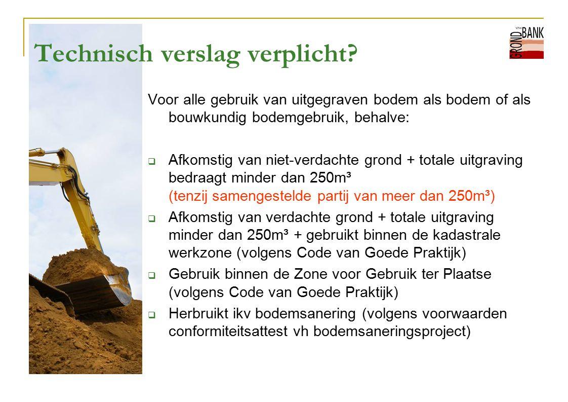 Technisch verslag verplicht? Voor alle gebruik van uitgegraven bodem als bodem of als bouwkundig bodemgebruik, behalve:  Afkomstig van niet-verdachte