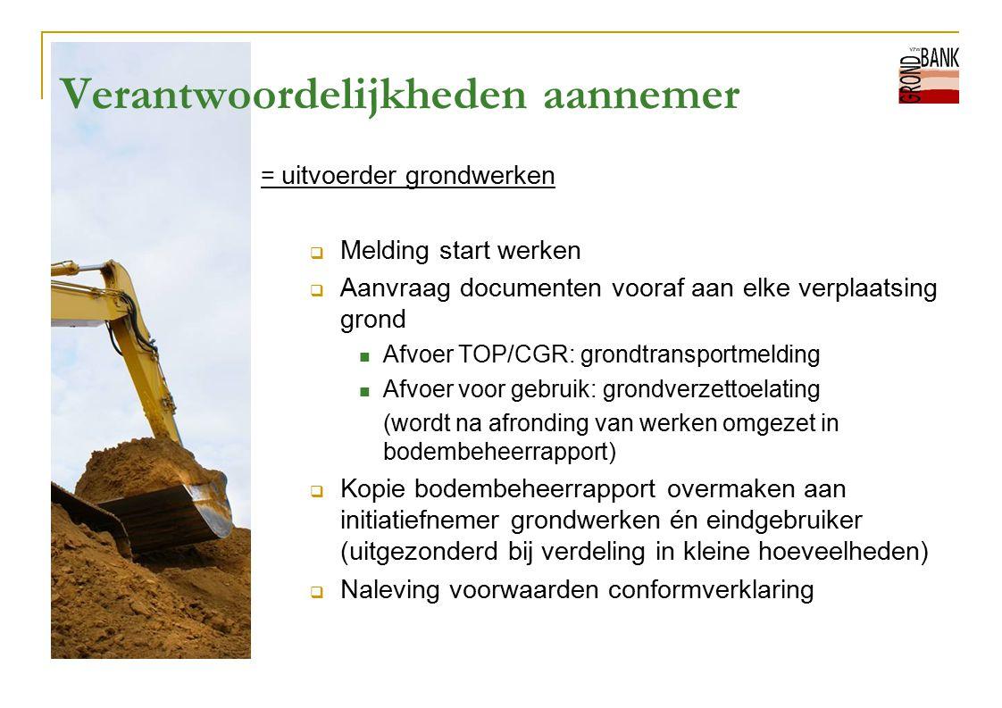 Verantwoordelijkheden aannemer = uitvoerder grondwerken  Melding start werken  Aanvraag documenten vooraf aan elke verplaatsing grond Afvoer TOP/CGR