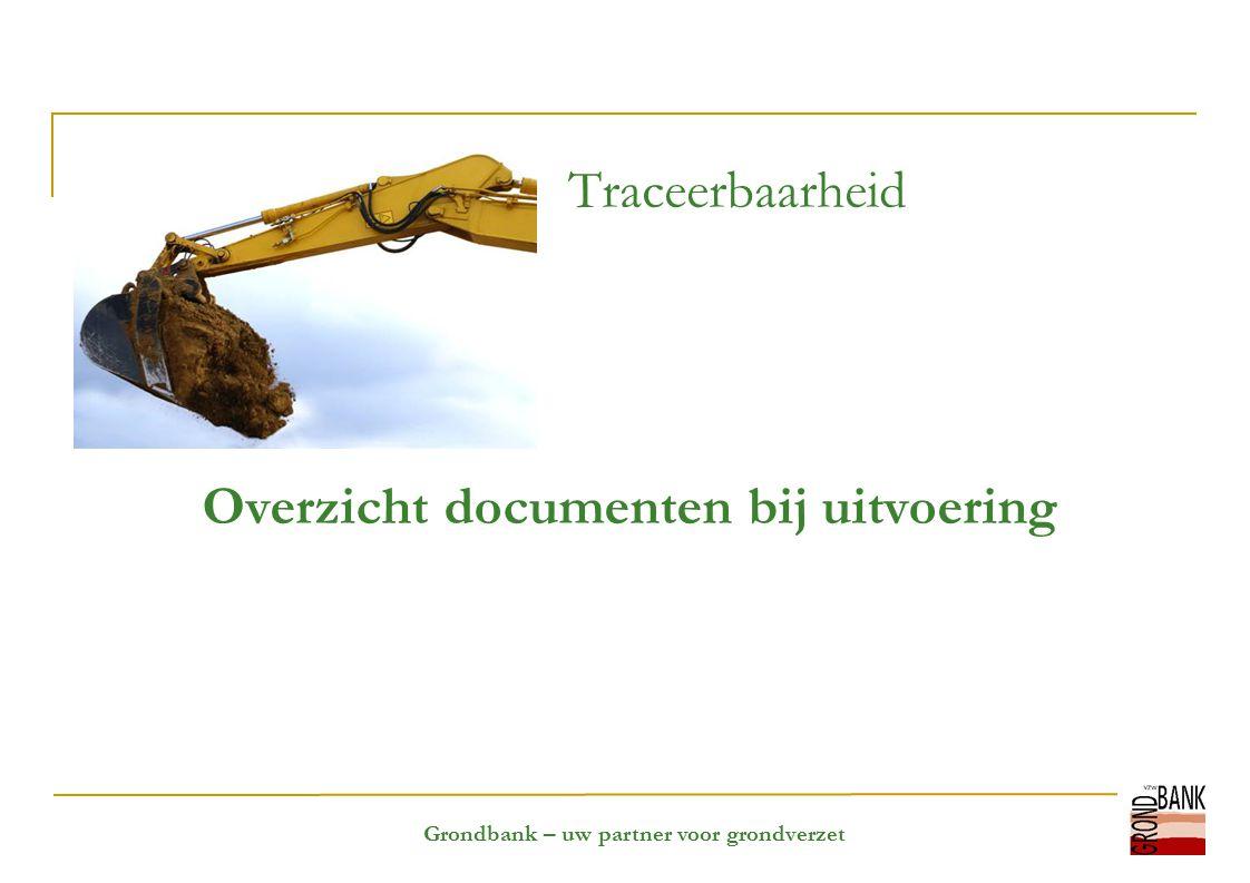 Grondbank – uw partner voor grondverzet Traceerbaarheid Overzicht documenten bij uitvoering