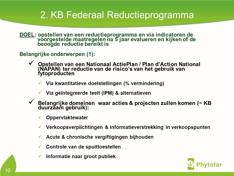 2. KB Federaal Reductieprogramma DOEL: opstellen van een reductieprogramma en via indicatoren de voorgestelde maatregelen na 5 jaar evalueren en kijke