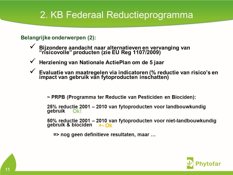 """2. KB Federaal Reductieprogramma Belangrijke onderwerpen (2): Bijzondere aandacht naar alternatieven en vervanging van """"risicovolle"""" producten (zie EU"""