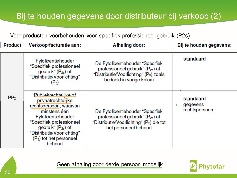 Bij te houden gegevens door distributeur bij verkoop (2) 30 Voor producten voorbehouden voor specifiek professioneel gebruik (P2s) : Geen afhaling doo