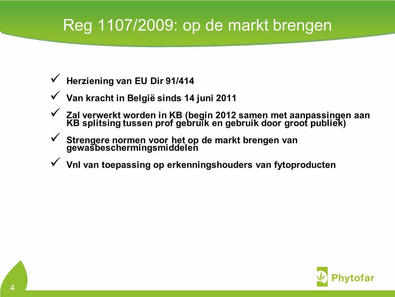 Reg 1107/2009: op de markt brengen Herziening van EU Dir 91/414 Van kracht in België sinds 14 juni 2011 Zal verwerkt worden in KB (begin 2012 samen me
