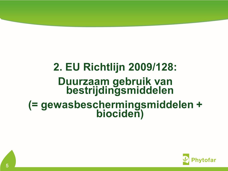 Europese Richtlijn 2009/128 geïmplementeerd in België via 2 Koninklijke Besluiten 1.KB betreffende de verwezenlijking van een duurzaam gebruik van gewasbeschermingsmiddelen en toevoegingsstoffen 2.KB betreffende het federaal programma voor de reductie van pesticiden, met inbegrip van hun gebruik in het kader van duurzame ontwikkeling (= gewasbeschermingsmiddelen + biociden) Tijdslijn: 2 draftversies finale publicatie in Staatsblad verwacht begin 2012 6 Dir 2009/128: duurzaam gebruik