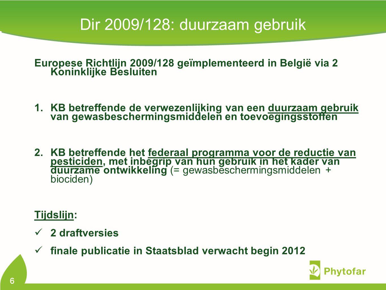 Europese Richtlijn 2009/128 geïmplementeerd in België via 2 Koninklijke Besluiten 1.KB betreffende de verwezenlijking van een duurzaam gebruik van gew