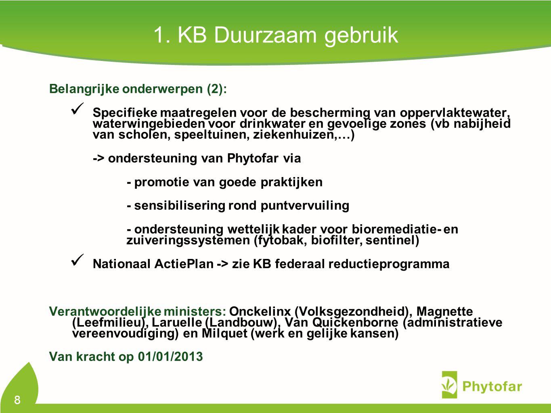 8 Belangrijke onderwerpen (2): Specifieke maatregelen voor de bescherming van oppervlaktewater, waterwingebieden voor drinkwater en gevoelige zones (vb nabijheid van scholen, speeltuinen, ziekenhuizen,…) -> ondersteuning van Phytofar via - promotie van goede praktijken - sensibilisering rond puntvervuiling - ondersteuning wettelijk kader voor bioremediatie- en zuiveringssystemen (fytobak, biofilter, sentinel) Nationaal ActiePlan -> zie KB federaal reductieprogramma Verantwoordelijke ministers: Onckelinx (Volksgezondheid), Magnette (Leefmilieu), Laruelle (Landbouw), Van Quickenborne (administratieve vereenvoudiging) en Milquet (werk en gelijke kansen) Van kracht op 01/01/2013 1.