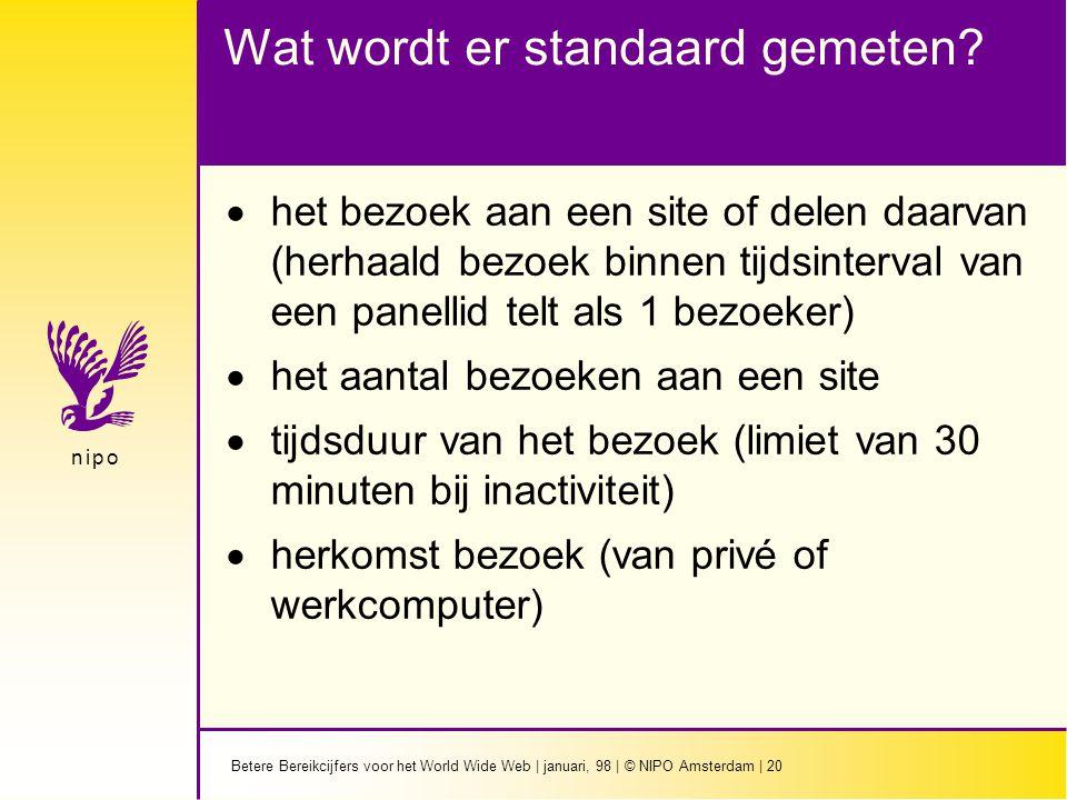 Betere Bereikcijfers voor het World Wide Web | januari, 98 | © NIPO Amsterdam | 20 n i p on i p o Wat wordt er standaard gemeten.