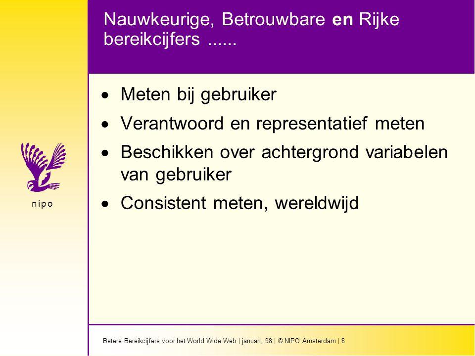 Betere Bereikcijfers voor het World Wide Web | januari, 98 | © NIPO Amsterdam | 8 n i p on i p o Nauwkeurige, Betrouwbare en Rijke bereikcijfers......