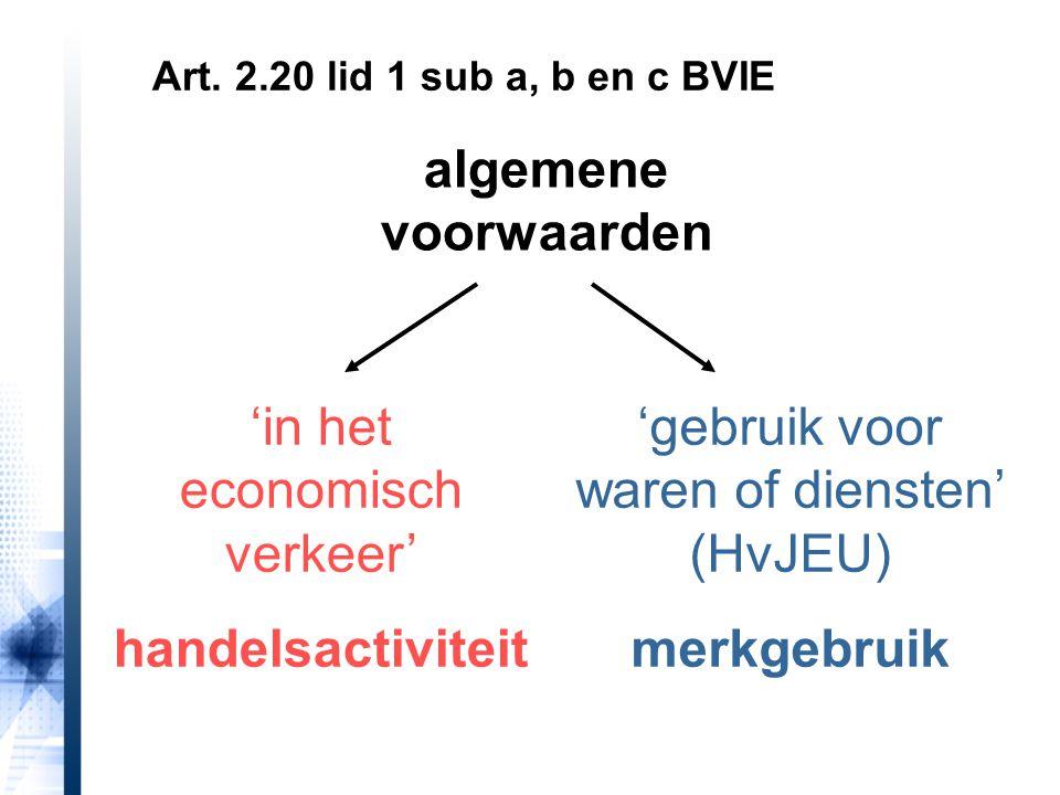 algemene voorwaarden 'in het economisch verkeer' handelsactiviteit 'gebruik voor waren of diensten' (HvJEU) merkgebruik Art. 2.20 lid 1 sub a, b en c