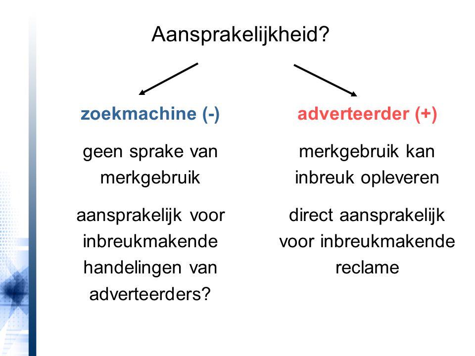 Aansprakelijkheid? zoekmachine (-) geen sprake van merkgebruik aansprakelijk voor inbreukmakende handelingen van adverteerders? adverteerder (+) merkg