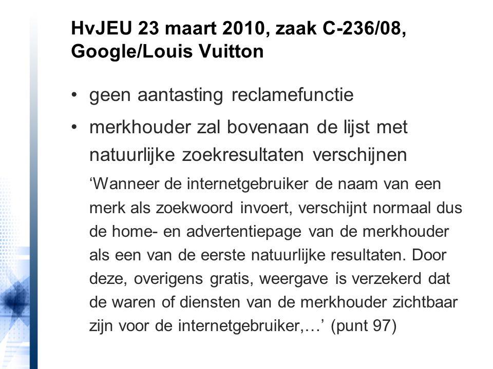 geen aantasting reclamefunctie merkhouder zal bovenaan de lijst met natuurlijke zoekresultaten verschijnen 'Wanneer de internetgebruiker de naam van e