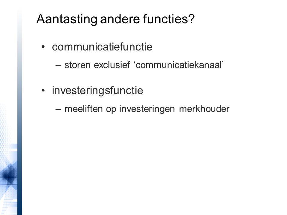 communicatiefunctie –storen exclusief 'communicatiekanaal' investeringsfunctie –meeliften op investeringen merkhouder Aantasting andere functies?