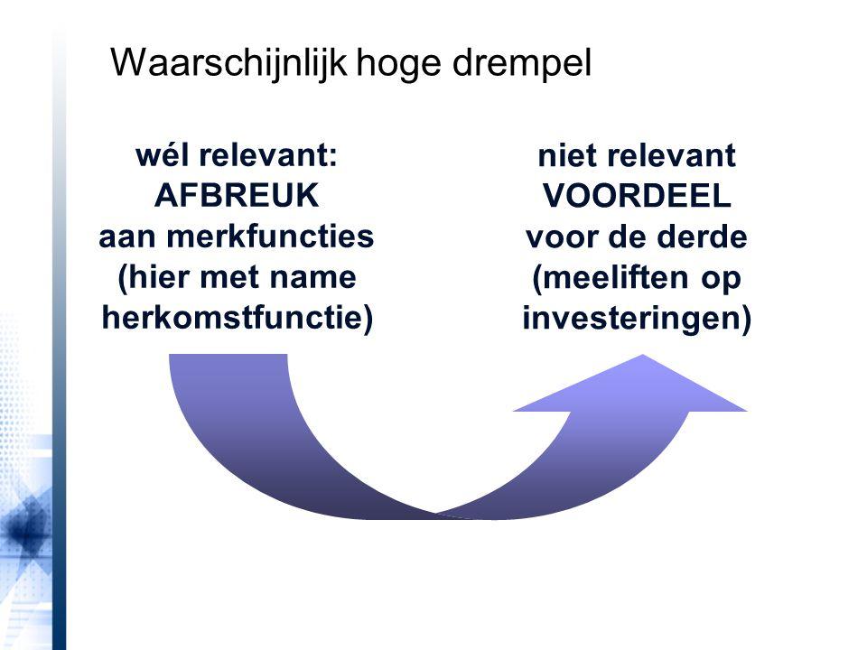 wél relevant: AFBREUK aan merkfuncties (hier met name herkomstfunctie) niet relevant VOORDEEL voor de derde (meeliften op investeringen) Waarschijnlijk hoge drempel
