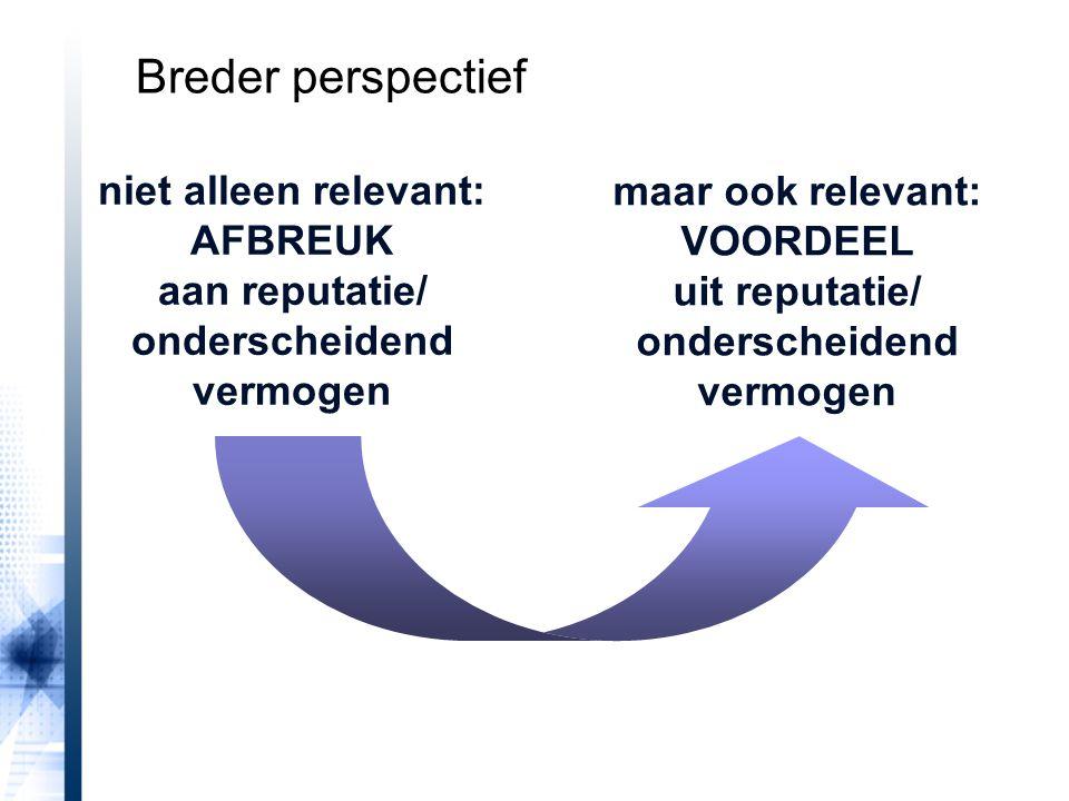 niet alleen relevant: AFBREUK aan reputatie/ onderscheidend vermogen maar ook relevant: VOORDEEL uit reputatie/ onderscheidend vermogen Breder perspectief