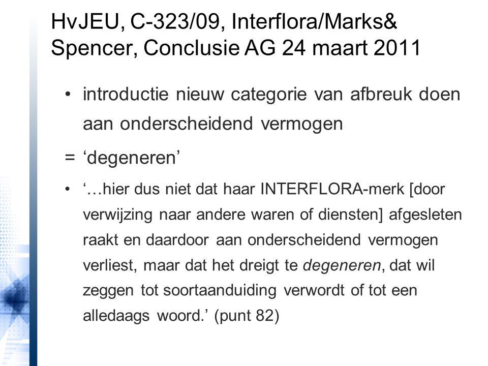 introductie nieuw categorie van afbreuk doen aan onderscheidend vermogen ='degeneren' '…hier dus niet dat haar INTERFLORA-merk [door verwijzing naar andere waren of diensten] afgesleten raakt en daardoor aan onderscheidend vermogen verliest, maar dat het dreigt te degeneren, dat wil zeggen tot soortaanduiding verwordt of tot een alledaags woord.' (punt 82) HvJEU, C-323/09, Interflora/Marks& Spencer, Conclusie AG 24 maart 2011