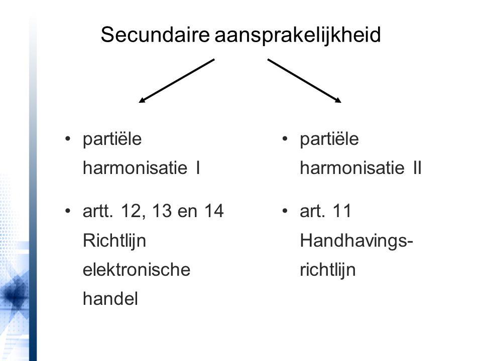 partiële harmonisatie I artt. 12, 13 en 14 Richtlijn elektronische handel partiële harmonisatie II art. 11 Handhavings- richtlijn Secundaire aansprake