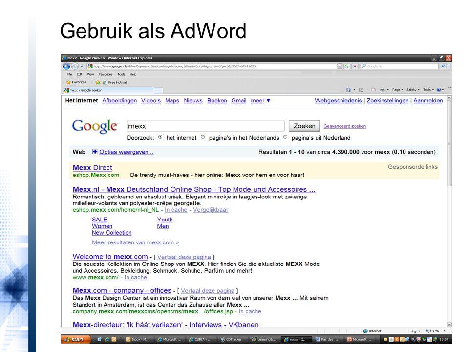 Gebruik als AdWord