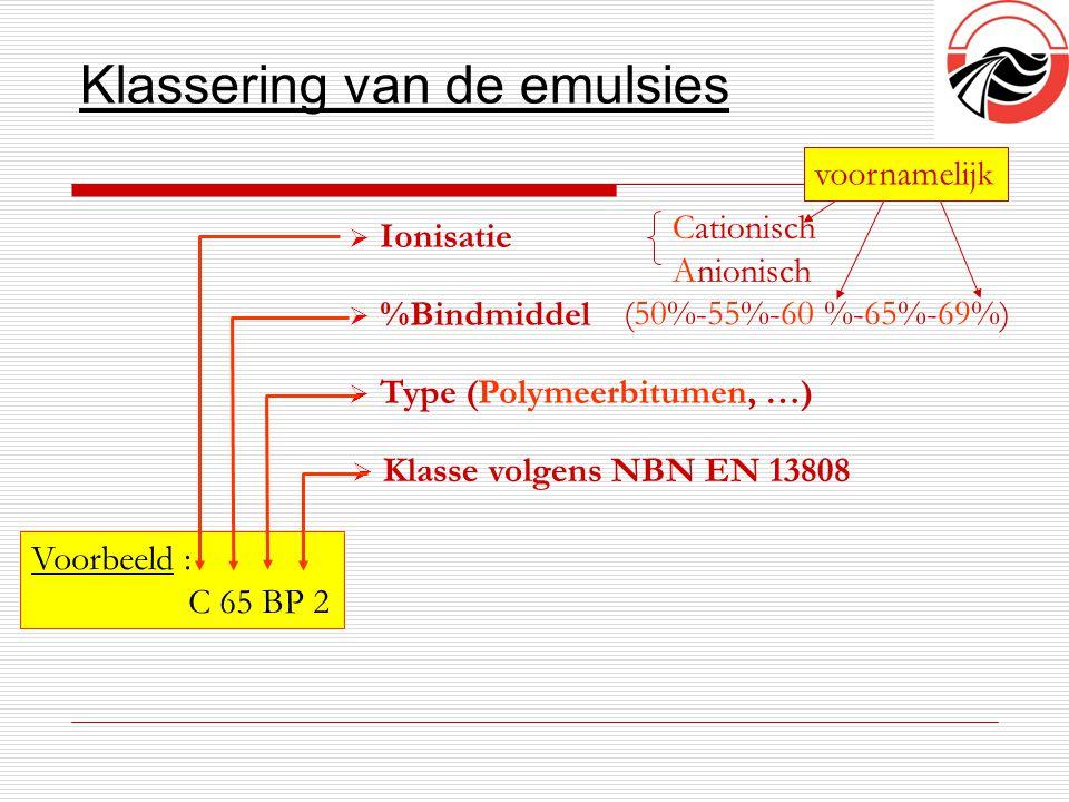 Klassering van de emulsies  Ionisatie  Type (Polymeerbitumen, …)  %Bindmiddel Voorbeeld : C 65 BP 2  Klasse volgens NBN EN 13808 Cationisch Anioni