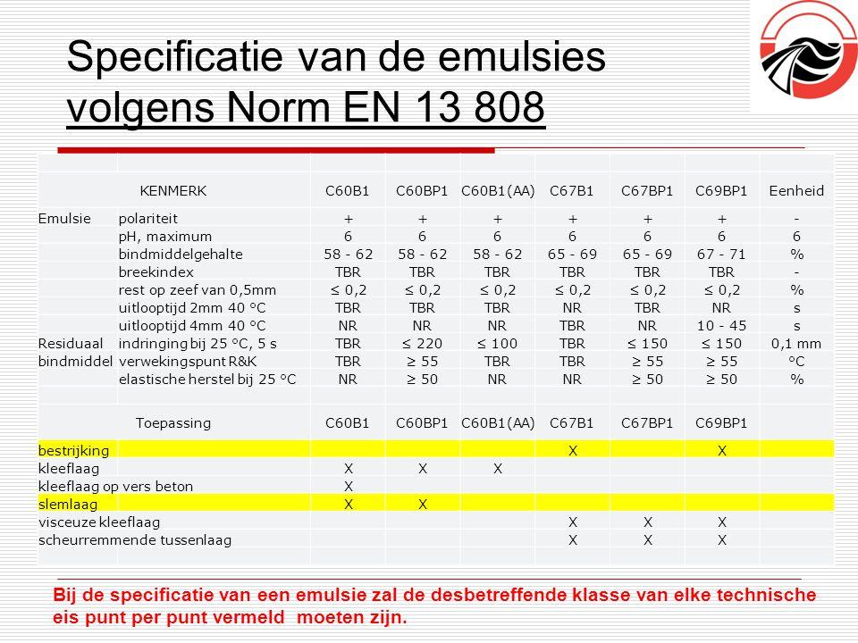 Specificatie van de emulsies volgens Norm EN 13 808 Bij de specificatie van een emulsie zal de desbetreffende klasse van elke technische eis punt per
