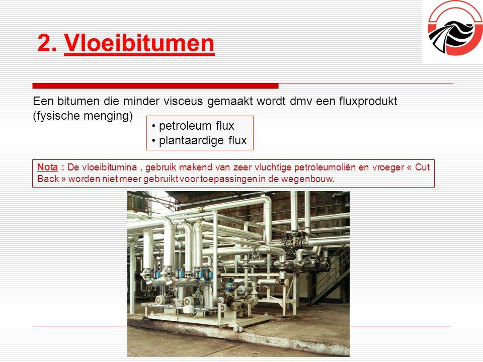 2. Vloeibitumen Liants hydrocarbonés Een bitumen die minder visceus gemaakt wordt dmv een fluxprodukt (fysische menging) Nota : De vloeibitumina, gebr