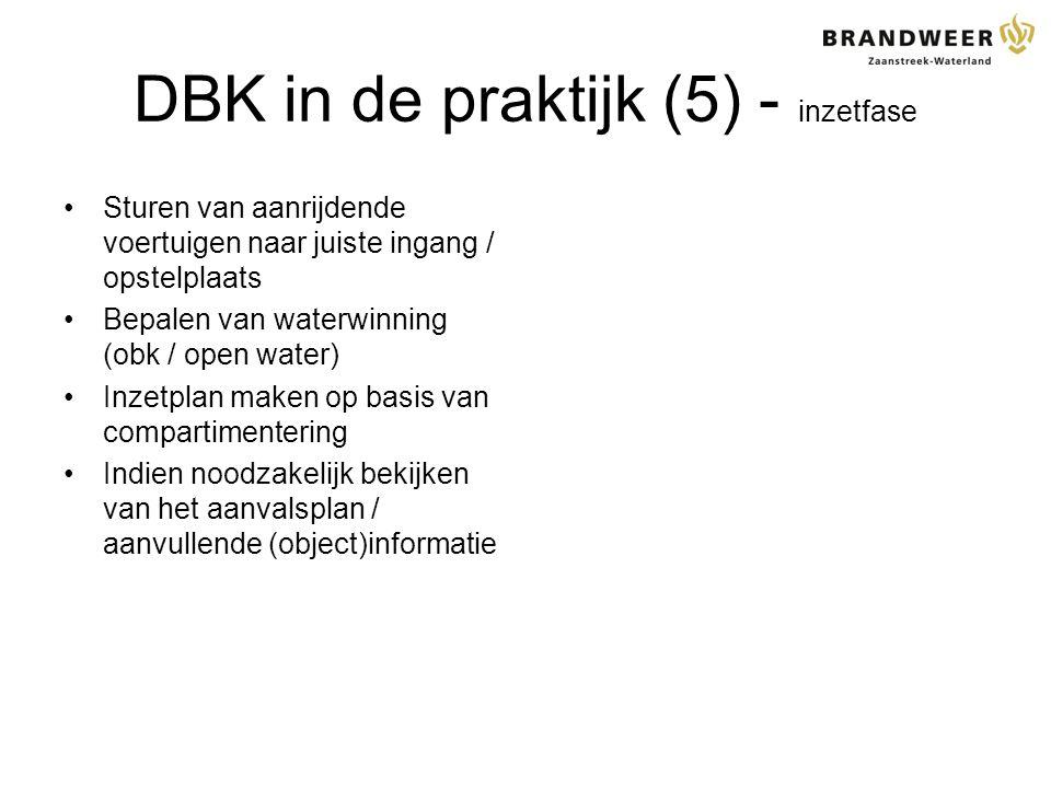 DBK in de praktijk (5) - inzetfase Sturen van aanrijdende voertuigen naar juiste ingang / opstelplaats Bepalen van waterwinning (obk / open water) Inzetplan maken op basis van compartimentering Indien noodzakelijk bekijken van het aanvalsplan / aanvullende (object)informatie