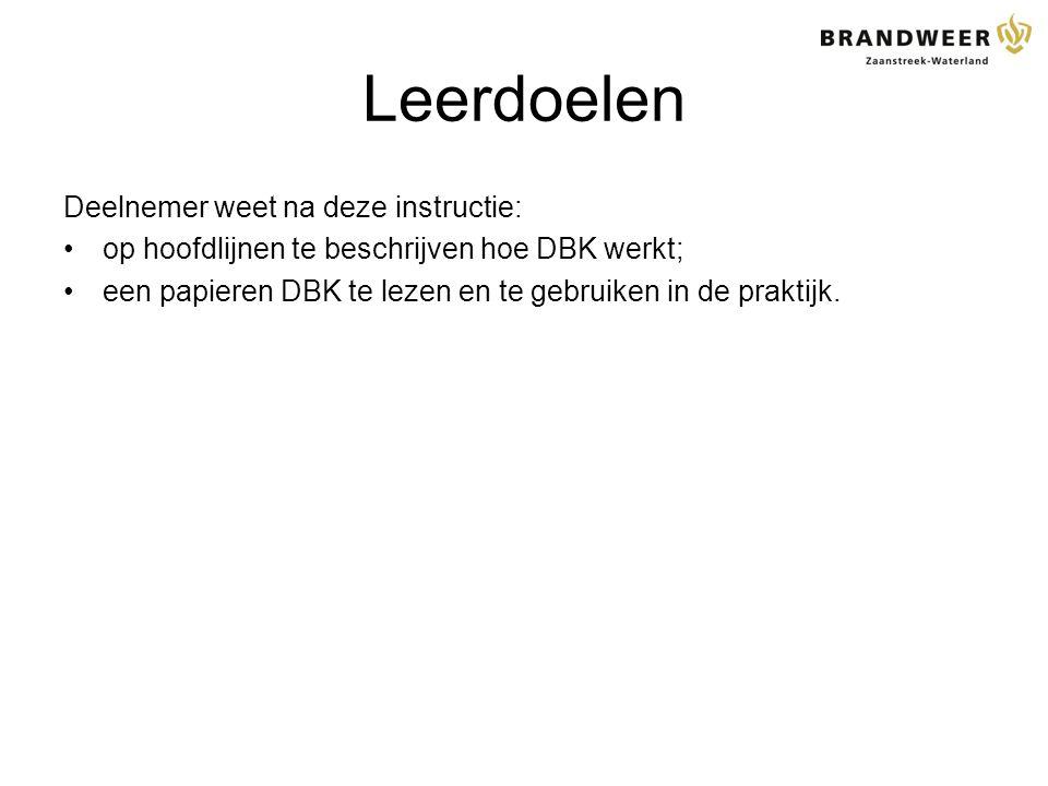 Leerdoelen Deelnemer weet na deze instructie: op hoofdlijnen te beschrijven hoe DBK werkt; een papieren DBK te lezen en te gebruiken in de praktijk.