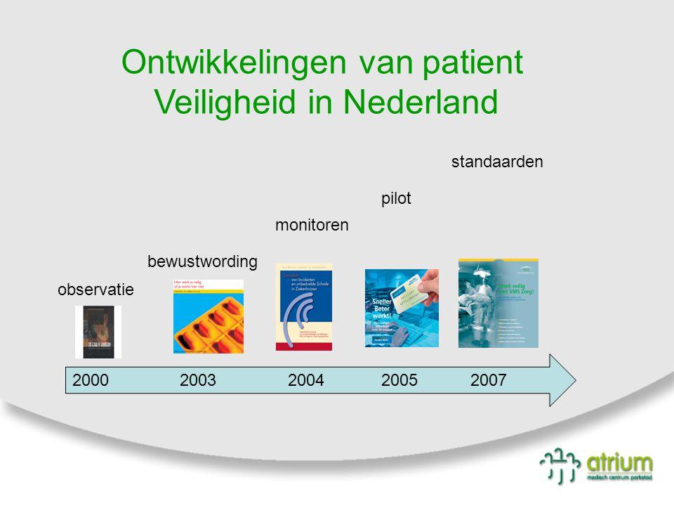 bewustwording observatie monitoren pilot standaarden 2000 2003 2004 2005 2007 Ontwikkelingen van patient Veiligheid in Nederland