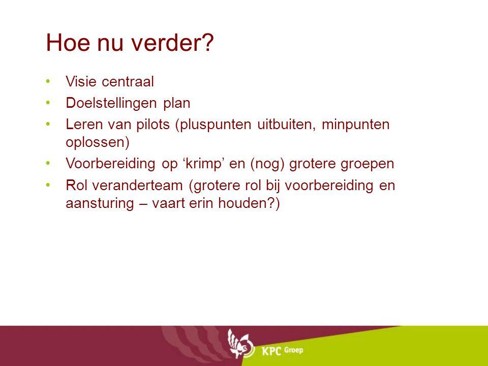 Hoe nu verder? Visie centraal Doelstellingen plan Leren van pilots (pluspunten uitbuiten, minpunten oplossen) Voorbereiding op 'krimp' en (nog) groter