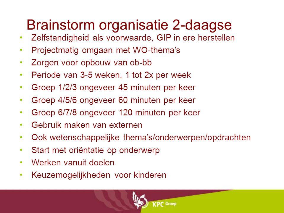 Brainstorm organisatie 2-daagse Zelfstandigheid als voorwaarde, GIP in ere herstellen Projectmatig omgaan met WO-thema's Zorgen voor opbouw van ob-bb