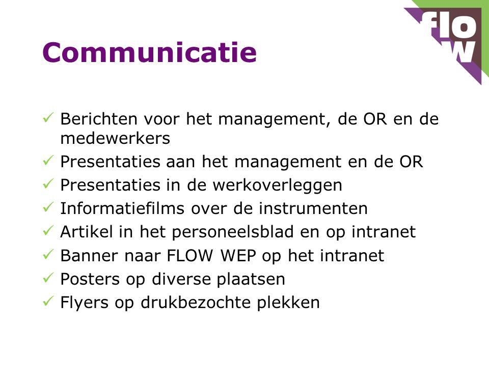Communicatie Berichten voor het management, de OR en de medewerkers Presentaties aan het management en de OR Presentaties in de werkoverleggen Informa