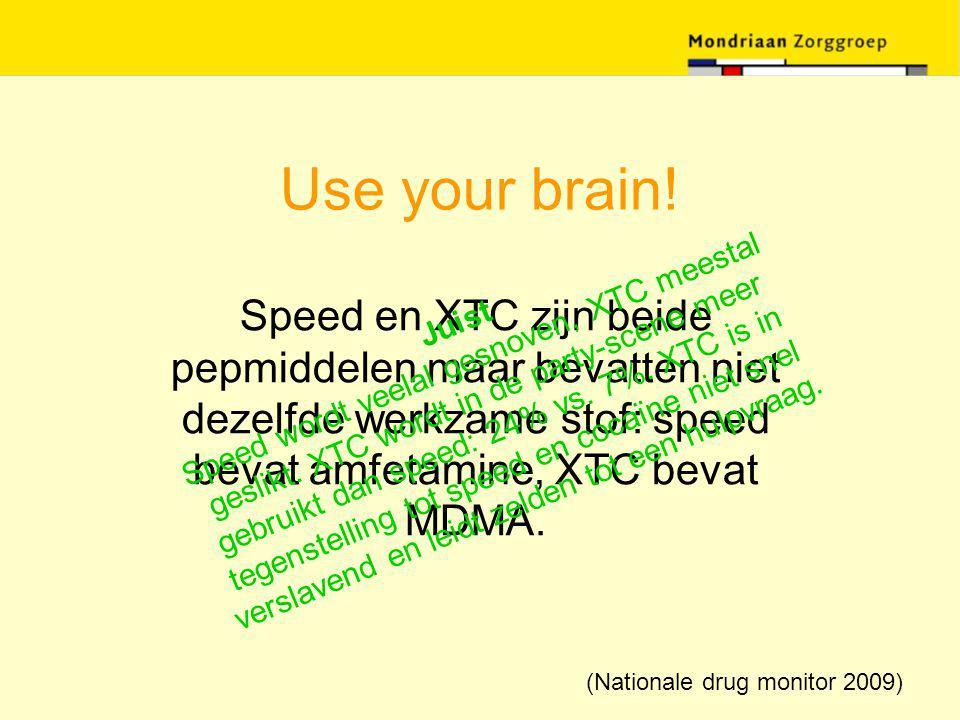 Use your brain! Speed en XTC zijn beide pepmiddelen maar bevatten niet dezelfde werkzame stof: speed bevat amfetamine, XTC bevat MDMA. Juist Speed wor