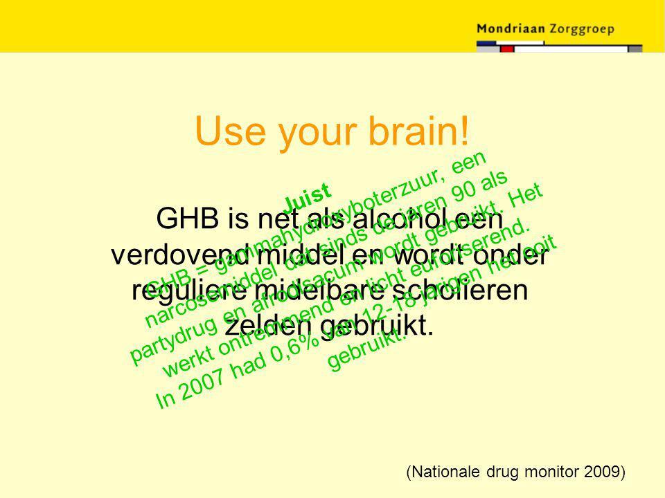 Use your brain! GHB is net als alcohol een verdovend middel en wordt onder reguliere midelbare scholieren zelden gebruikt. Juist GHB = gammahydroxybot