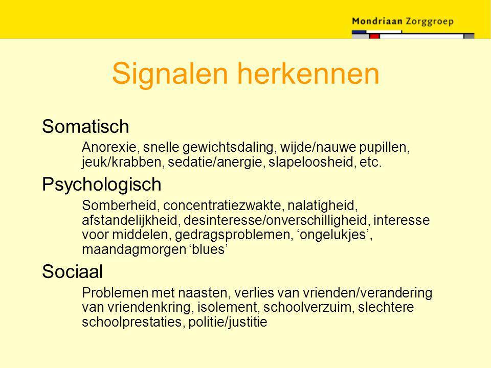 Signalen herkennen Somatisch Anorexie, snelle gewichtsdaling, wijde/nauwe pupillen, jeuk/krabben, sedatie/anergie, slapeloosheid, etc. Psychologisch S