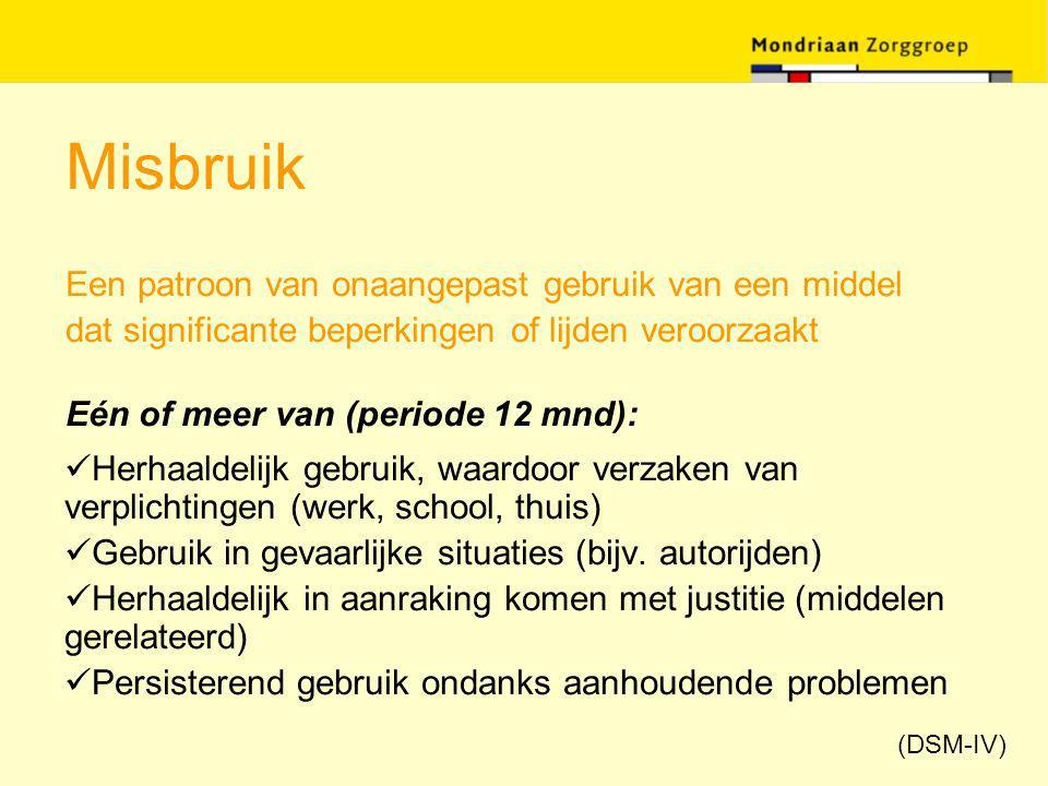 Misbruik Een patroon van onaangepast gebruik van een middel dat significante beperkingen of lijden veroorzaakt Eén of meer van (periode 12 mnd): Herha