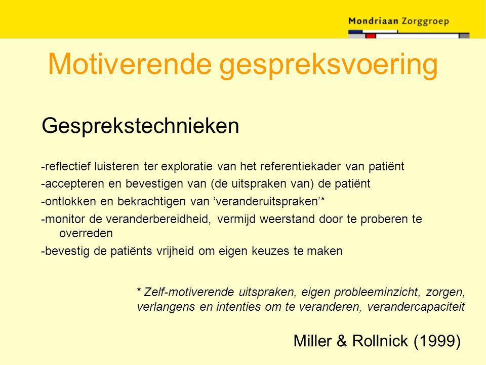 Motiverende gespreksvoering Gesprekstechnieken -reflectief luisteren ter exploratie van het referentiekader van patiënt -accepteren en bevestigen van