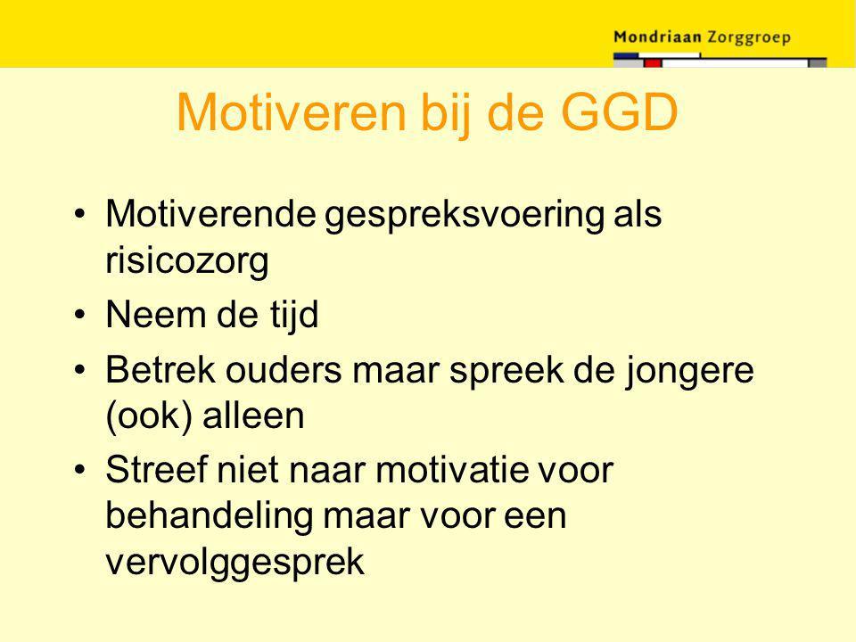 Motiveren bij de GGD Motiverende gespreksvoering als risicozorg Neem de tijd Betrek ouders maar spreek de jongere (ook) alleen Streef niet naar motiva