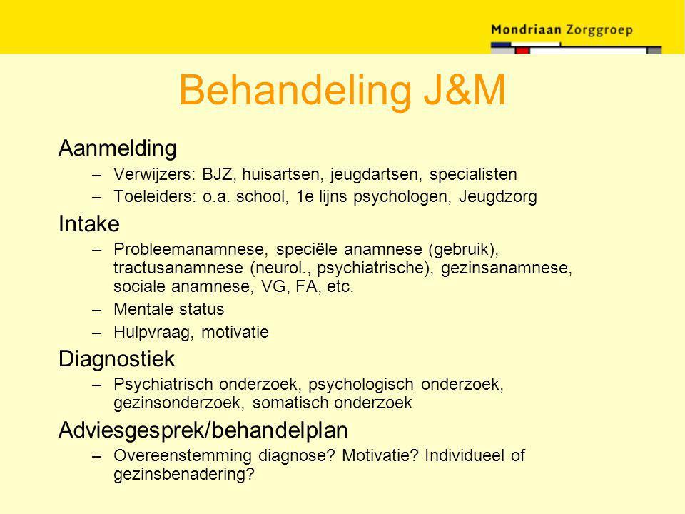 Behandeling J&M Aanmelding –Verwijzers: BJZ, huisartsen, jeugdartsen, specialisten –Toeleiders: o.a. school, 1e lijns psychologen, Jeugdzorg Intake –P
