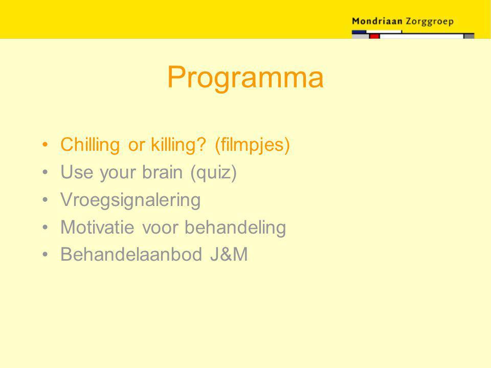 Motiverende gespreksvoering Gesprekstechnieken -reflectief luisteren ter exploratie van het referentiekader van patiënt -accepteren en bevestigen van (de uitspraken van) de patiënt -ontlokken en bekrachtigen van 'veranderuitspraken'* -monitor de veranderbereidheid, vermijd weerstand door te proberen te overreden -bevestig de patiënts vrijheid om eigen keuzes te maken Miller & Rollnick (1999) * Zelf-motiverende uitspraken, eigen probleeminzicht, zorgen, verlangens en intenties om te veranderen, verandercapaciteit